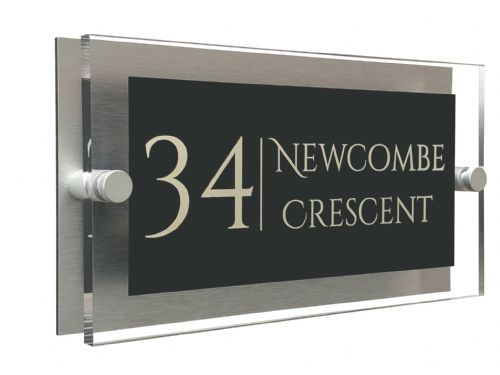 Rectangle Shape - Clear Acrylic House Sign - Anthracite Colour with Double Cream text in Font  1